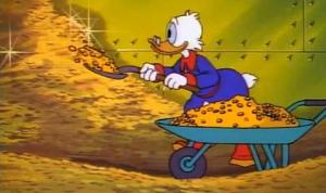 I assume that most fictional worlds use the Duck Tales method of banking.
